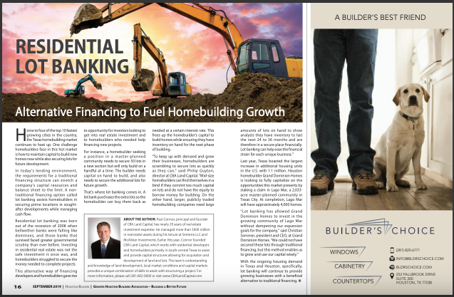 Residential Lot Banking Feature in Houston Builder Magazine