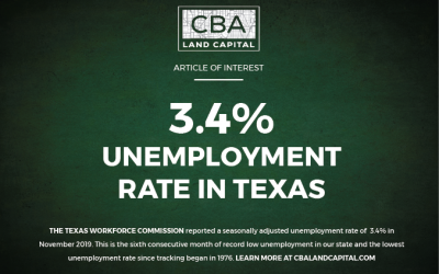 Record Low Unemployment in Texas at 3.4%